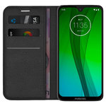 Leather Wallet Case & Card Holder - Motorola Moto G7 / G7 Plus - Black